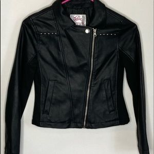 Justice Lined Faux Leather Jacket Sz 10